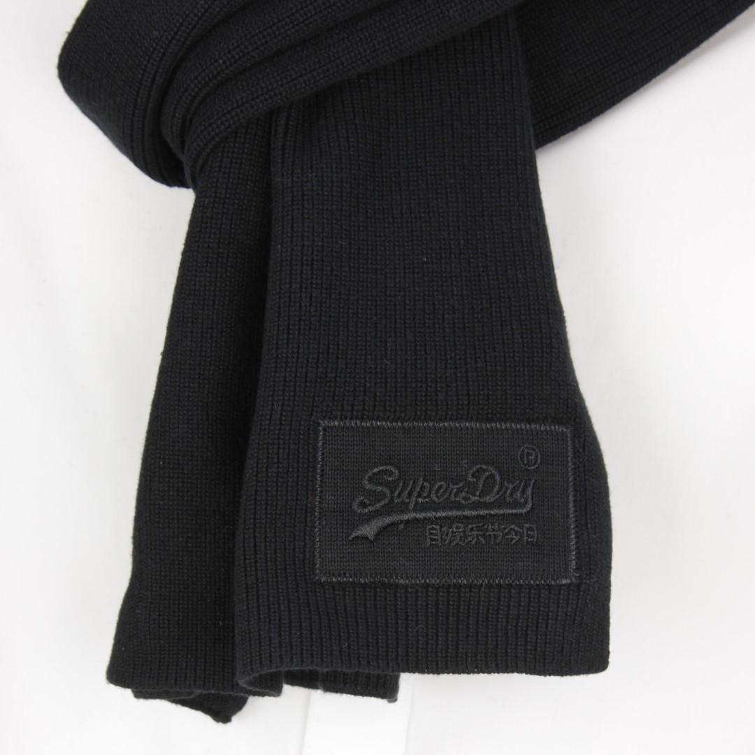 Superdry Herren Strick Schal Orange Label Scarf schwarz M9310010A 02A black