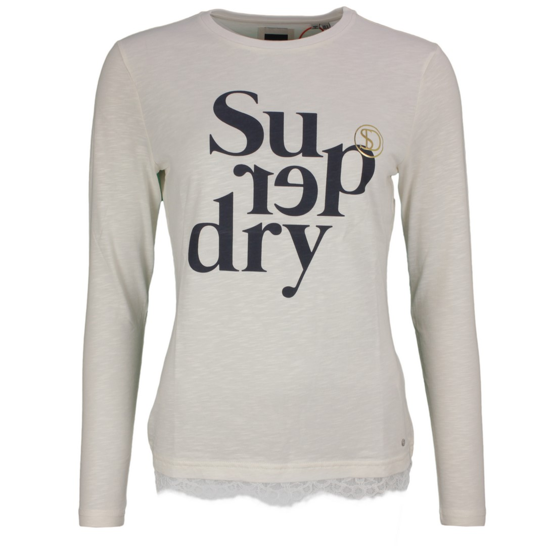 Superdry Damen langarm Shirt Label Tilly Lace Graphic Top weiß W6010096A FU4