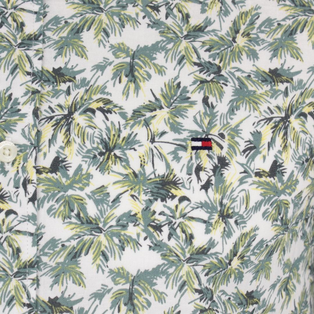 Tommy Hilfiger Herren Kurzarm Hemd grün weiß Palmenprint MW0MW13454 OK4