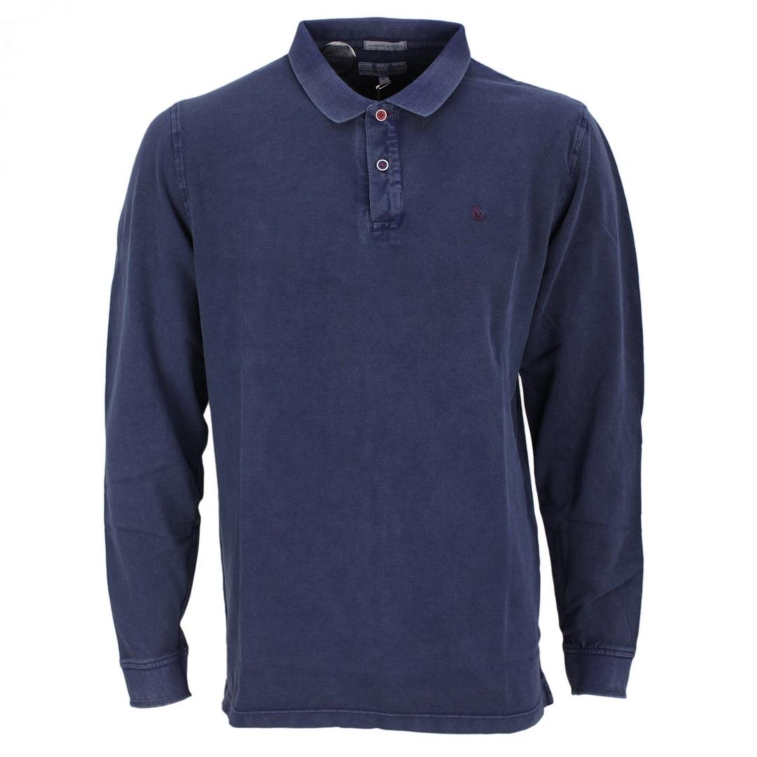 Colours & Sons Herren Polo Langarmshirt blau unifarben 9221 461 699 Navy
