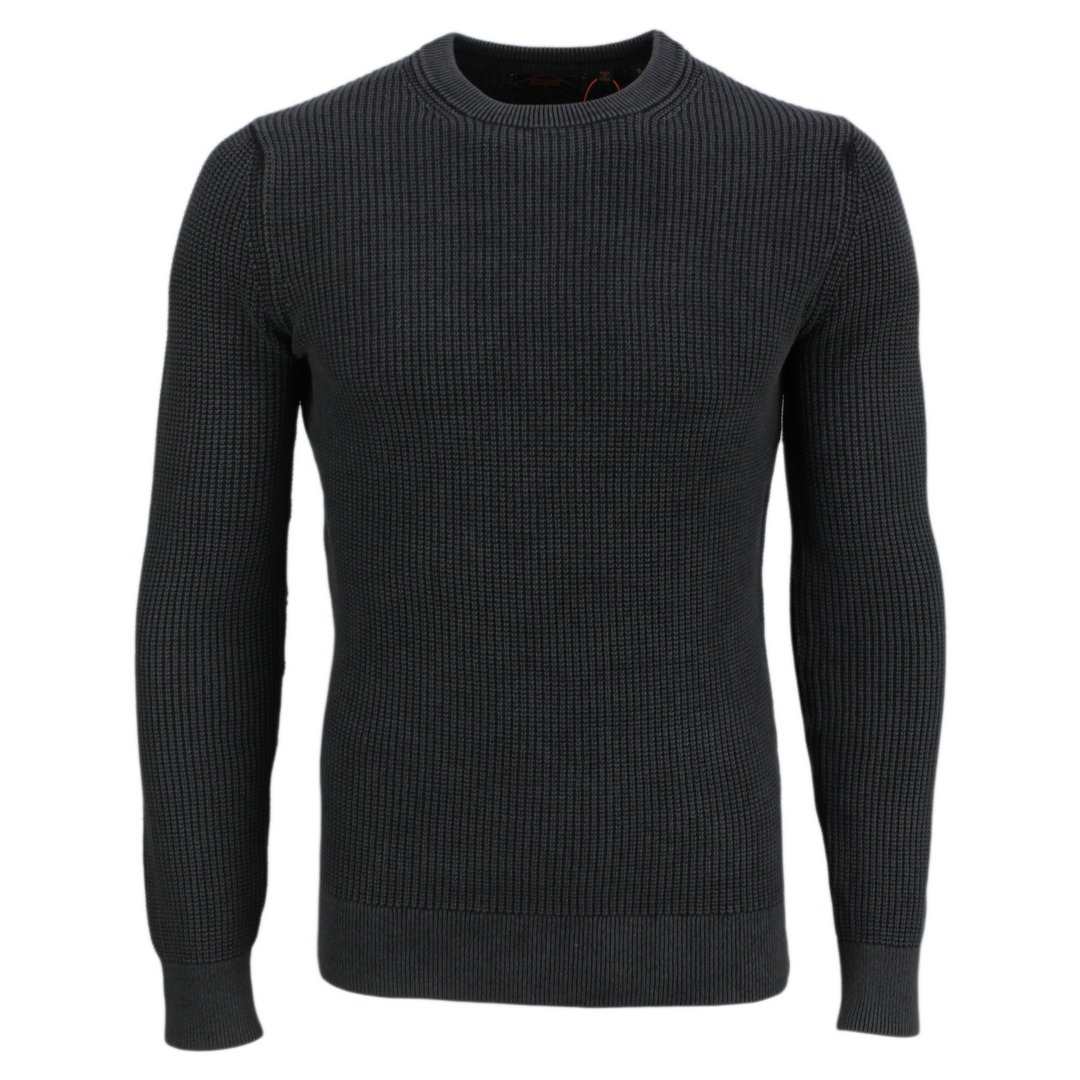 Superdry Strickpullover Pullover Academy Dyed Textured Crew M6110283A QS5 carbon black