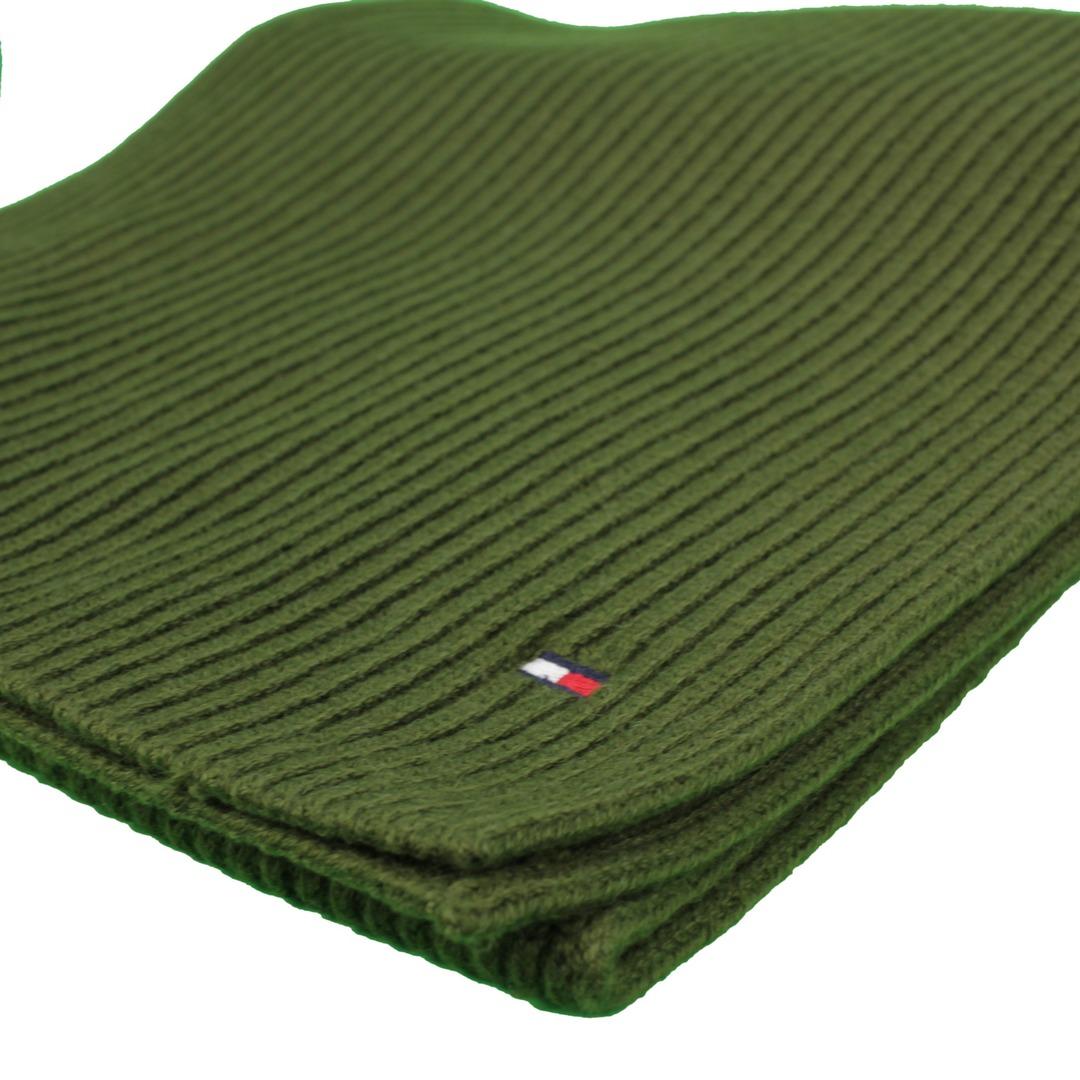 Tommy Hilfiger Herren Strick Schal grün strukturiert unifarben AM0AM06546 GYY Brown Pima Cotton Scar