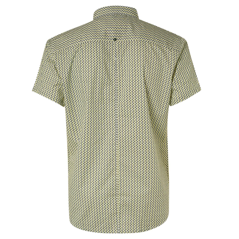 No Excess Freizeit Kurzarm Hemd blau gelb Minimal Muster 11420317 05