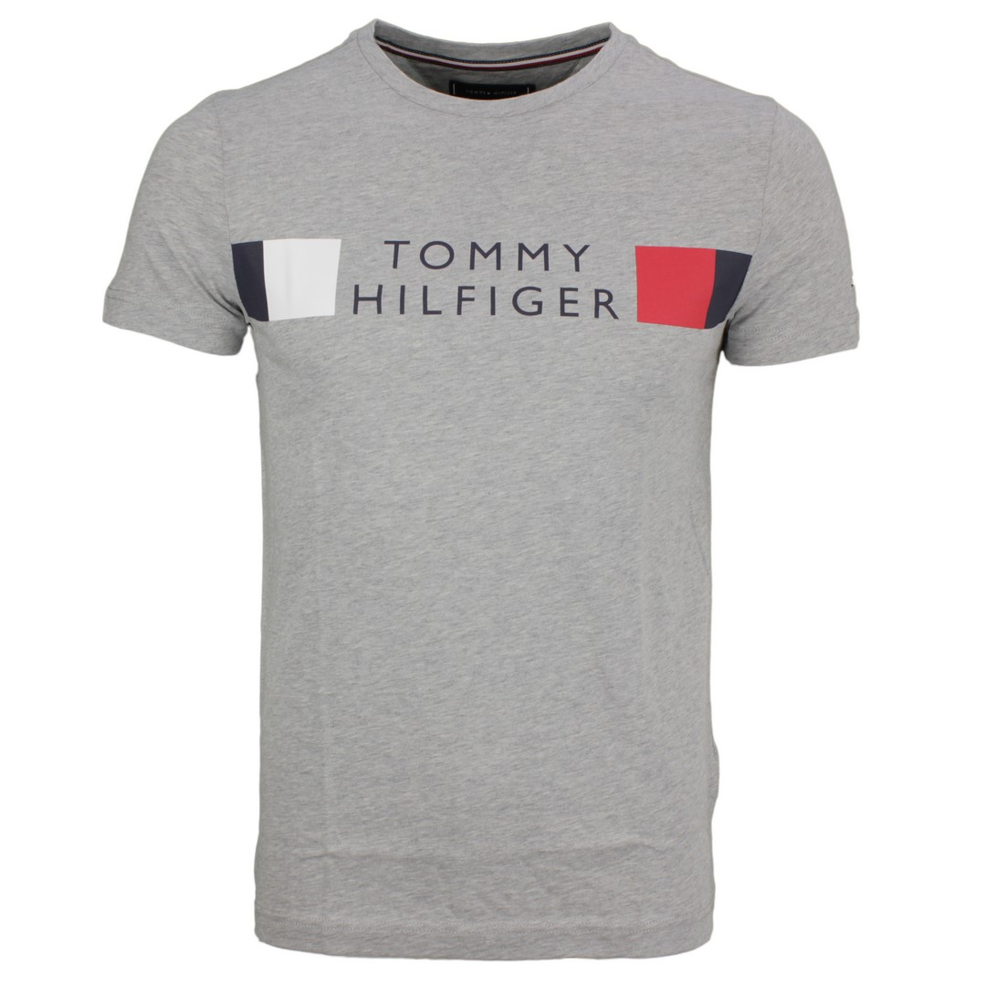 Tommy Hilfiger Herren T-Shirt Logo Druck grau MW0MW13330 P92