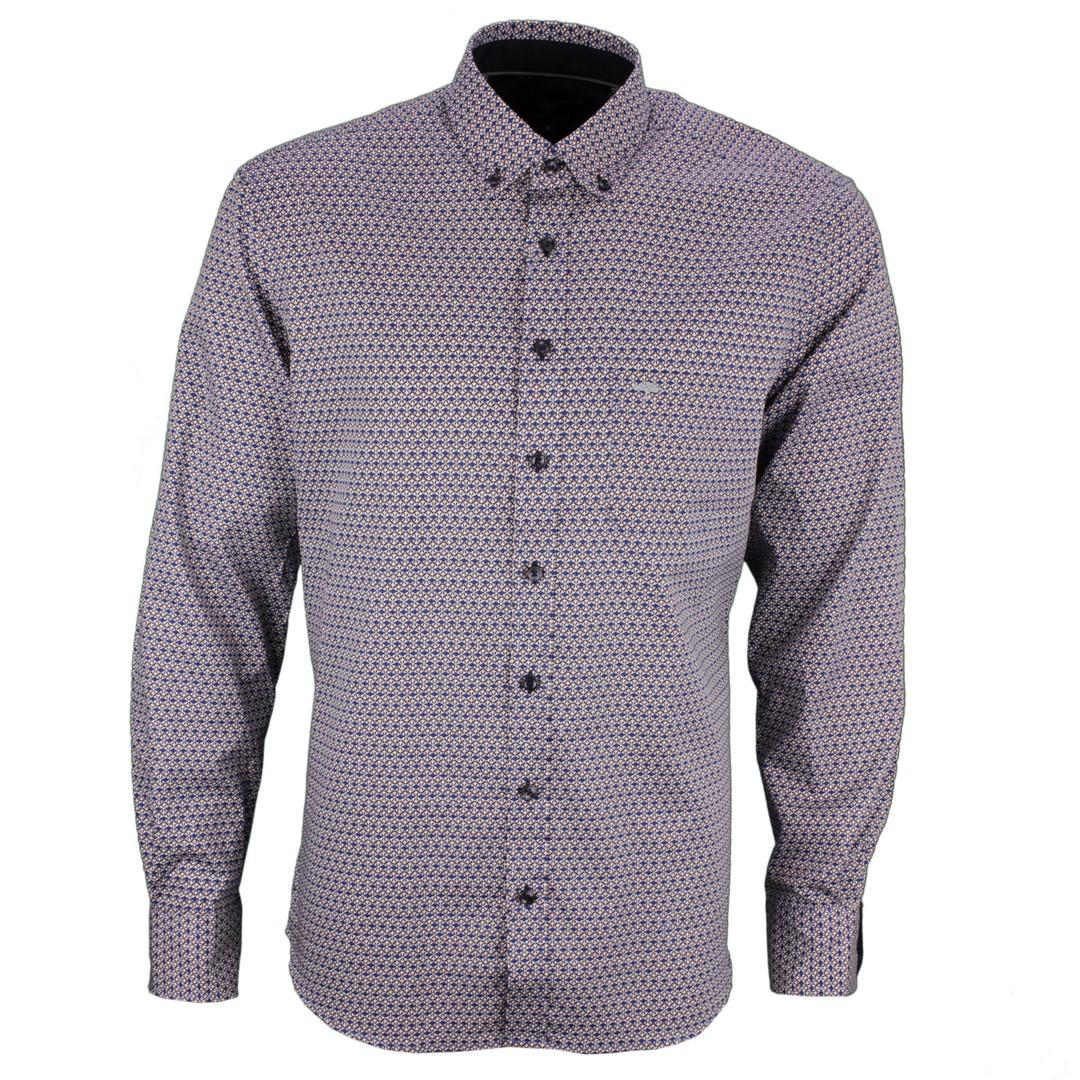 Fynch Hatton Freizeit Hemd mehrfarbig Minimal Muster 12208020 8027 blue print