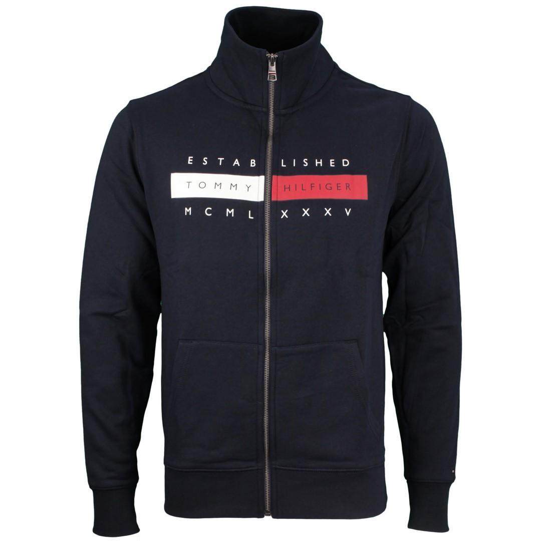 Tommy Hilfiger Sweat Jacke Global Hilfiger Zip Through blau MW0MW18367 DW5