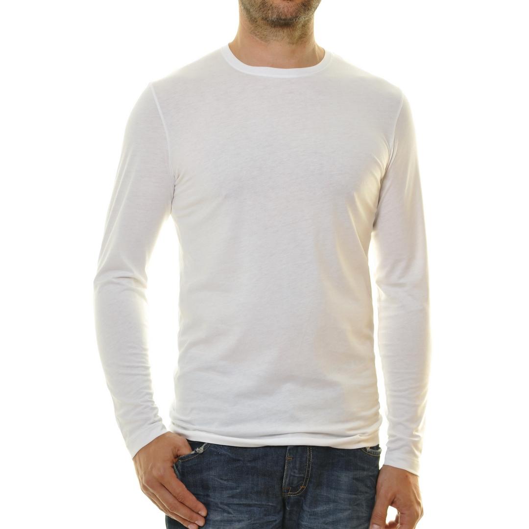Ragman Herren Langarm Shirt Langarmshirt rundhals weiß unifarben 482180 006