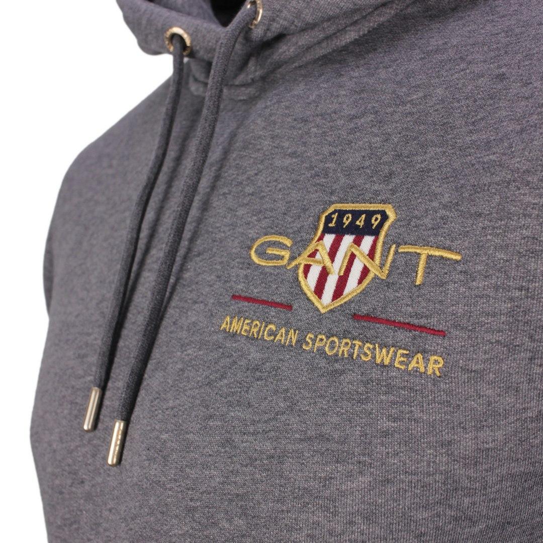 Gant Archive Shield Hoodie Kapuzen Sweat Pullover 2047076 95 Antracite Melange