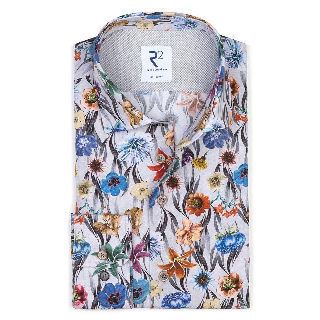 R2 Amsterdam Herren Business Hemd Blumen Muster 110.WSP.027 73 Blume