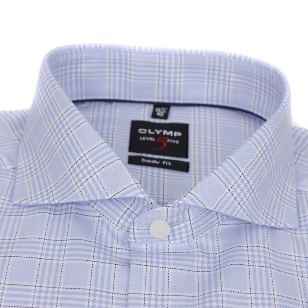Olymp Herren Body Fit Hemd Level 5 blau weiß kariert 2090 24 11