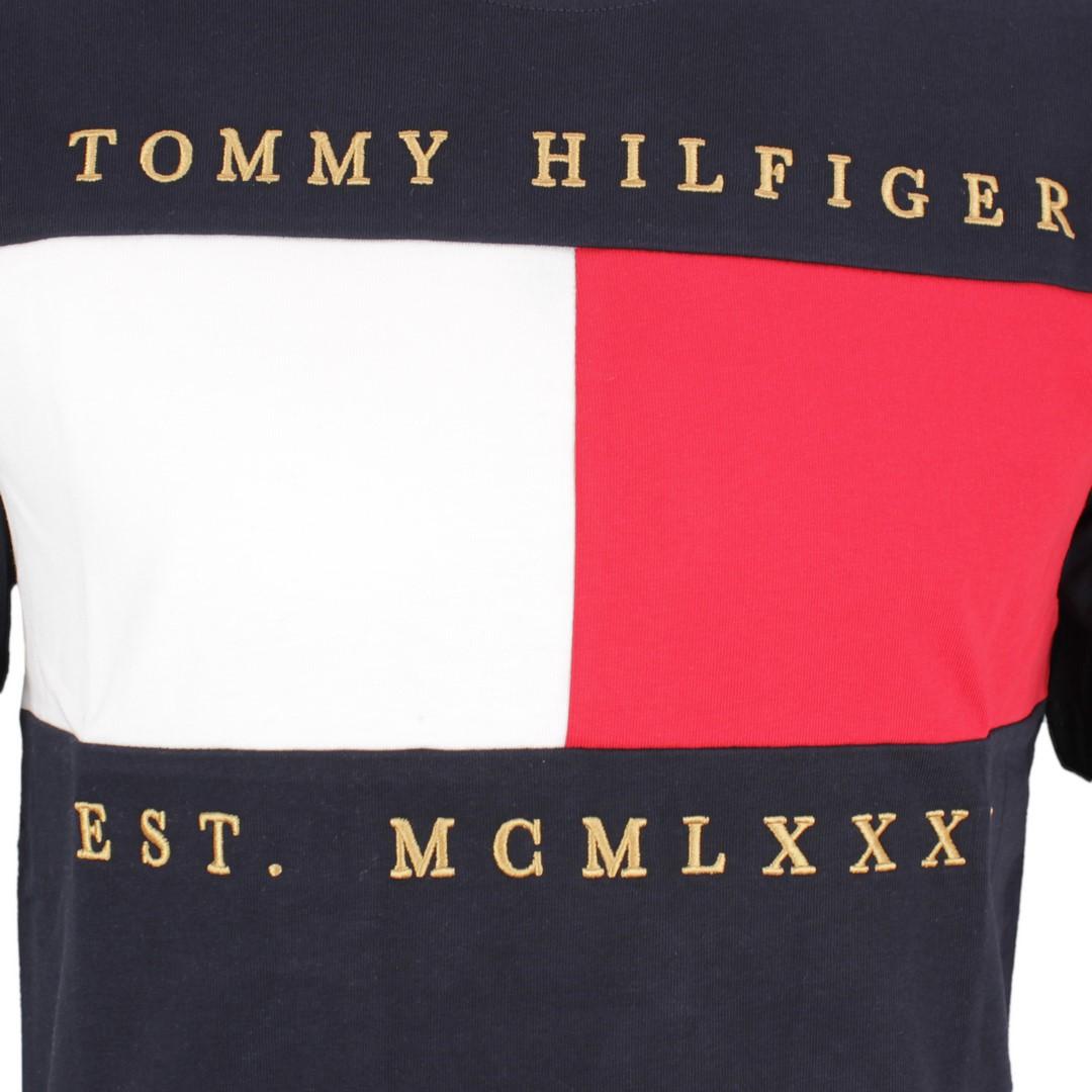Tommy Hilfiger Herren T-Shirt Logo Druck blau MW0MW12517 DW5