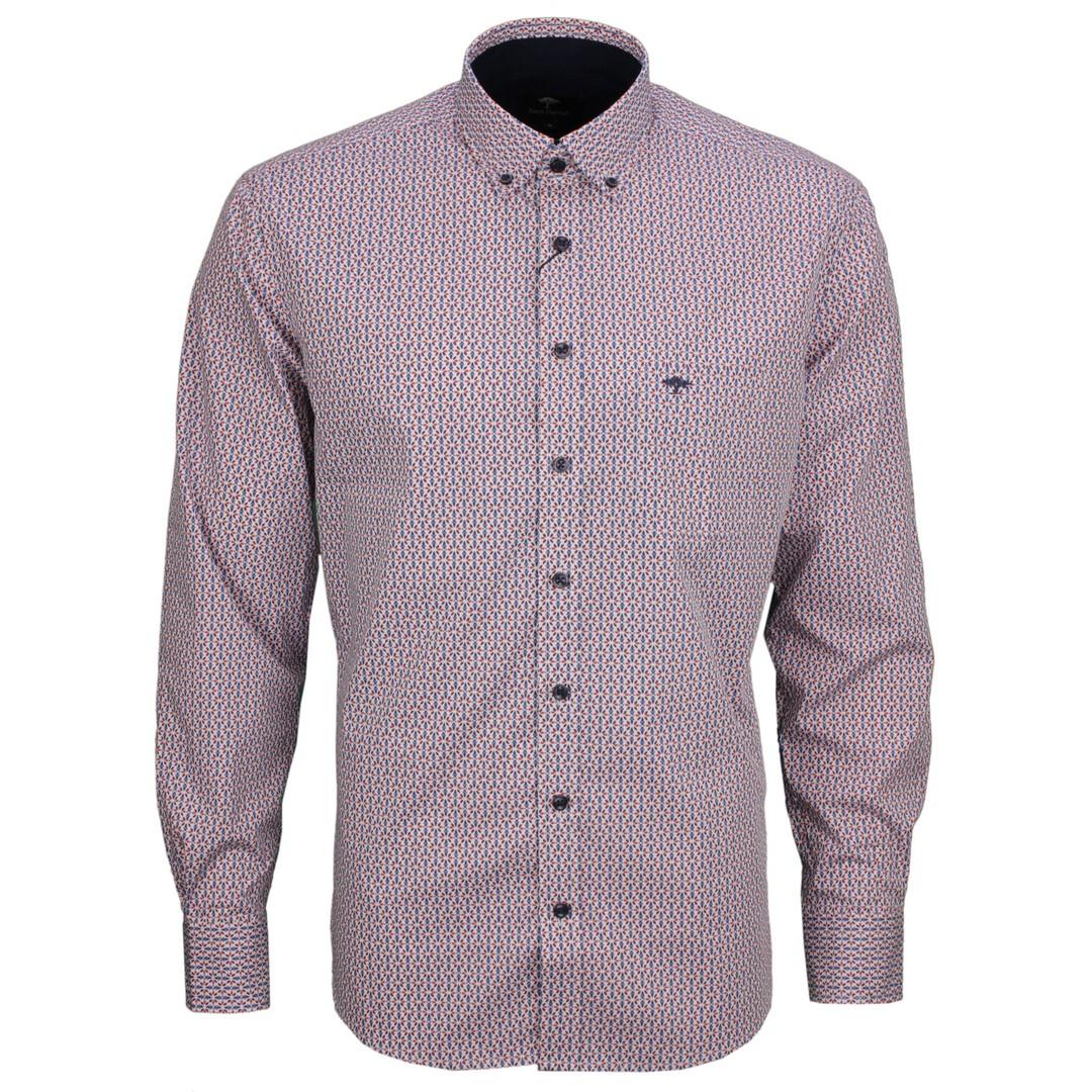 Fynch Hatton Herren Freizeit Hemd mehrfarbig gemustert 111218020 8021 flame