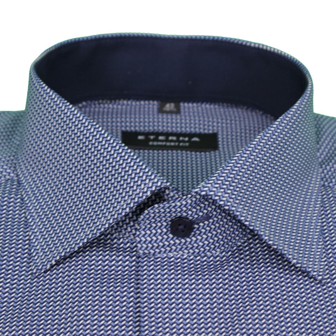 Eterna Herren Hemd Comfort Fit blau weiß Minimal Muster 3829 E15K 16