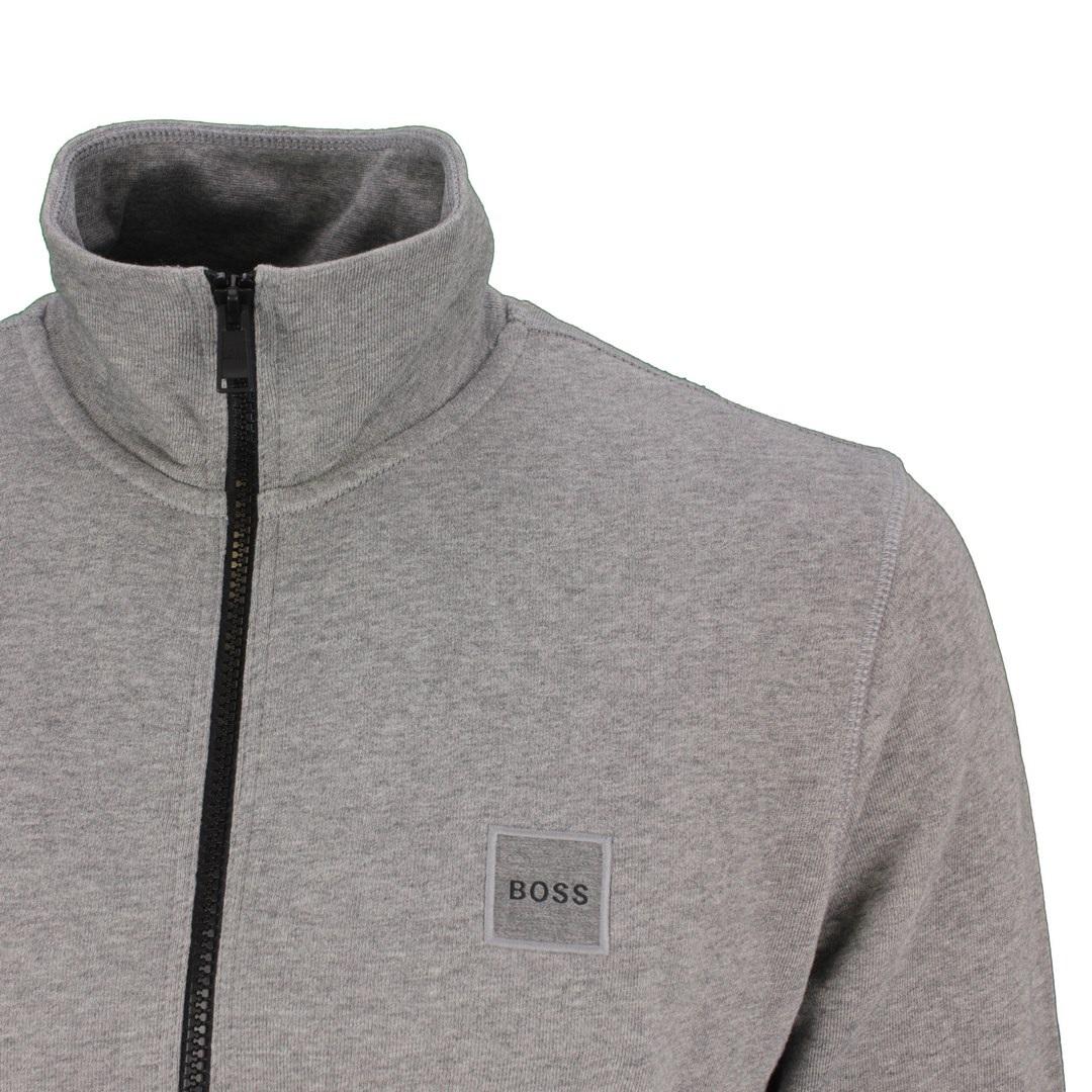 Hugo Boss Sweat Jacke Weste Logo Applikation Ziphood grau 50462803 041 Silver Zestart