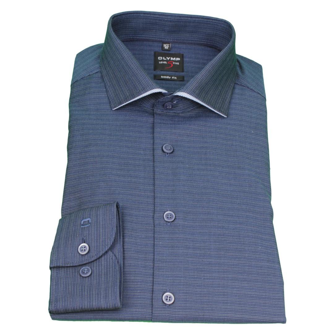 Olymp Body Fit Level 5 Hemd blau gemustert 2033 44 18