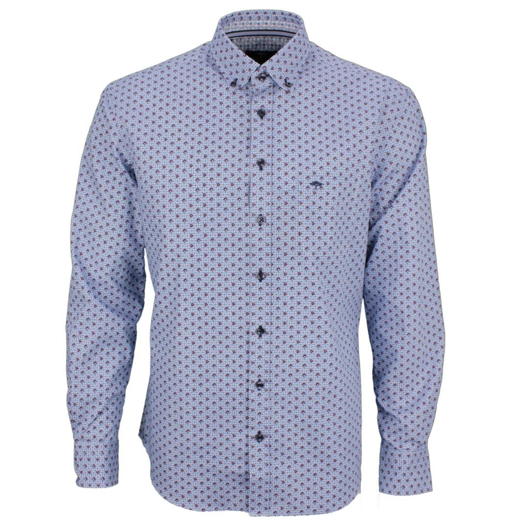 Fynch Hatton Herren Freizeit Hemd blau Minimal Muster 12208070 8070 Merlo