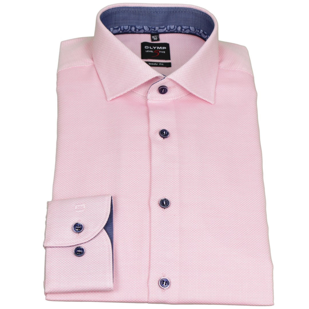 Olymp Body Fit Level 5 Hemd rosa unifarben 2106 54 30