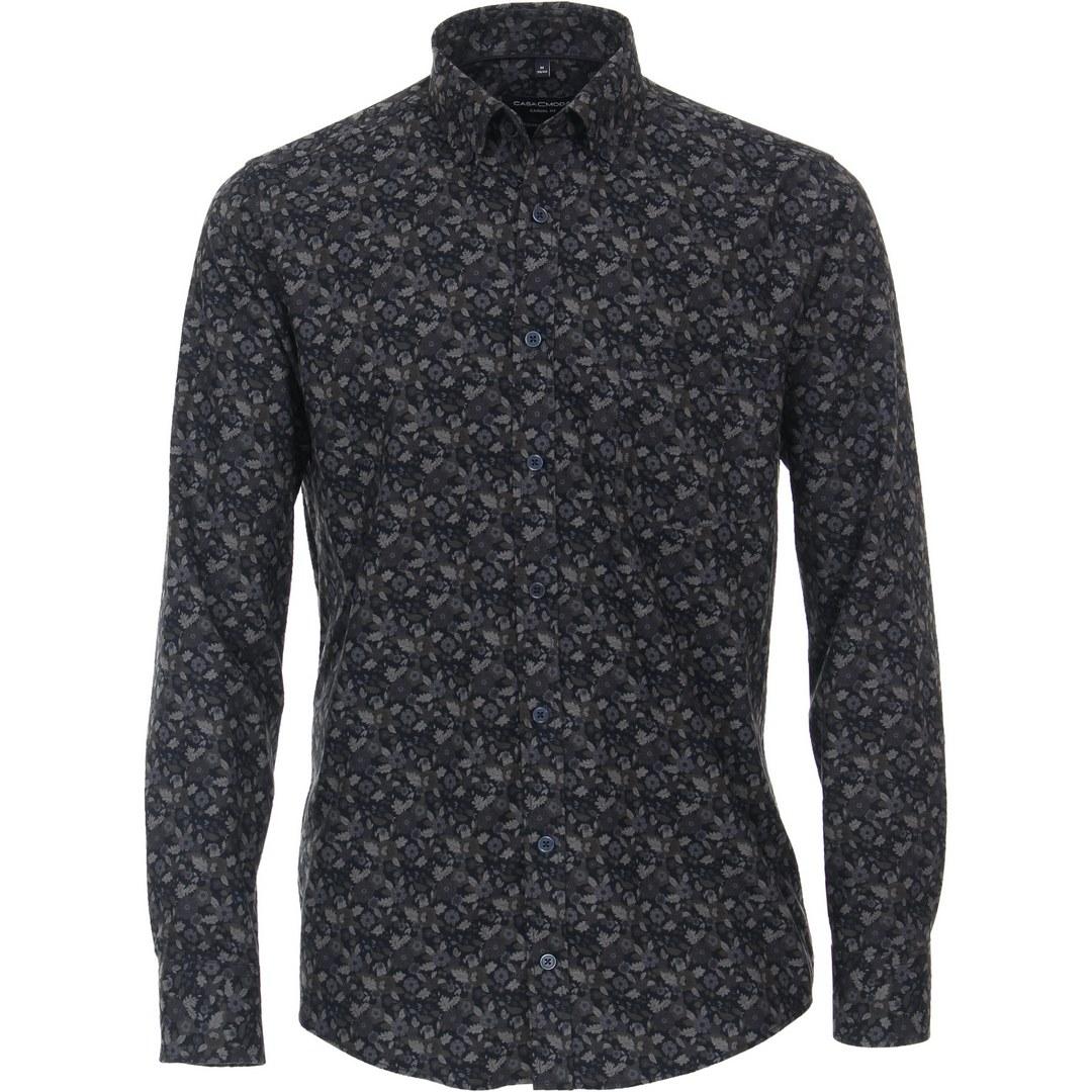 Casa Moda Herren Freizeit Hemd Flanellhemd florales Muster 413717200 100 blau