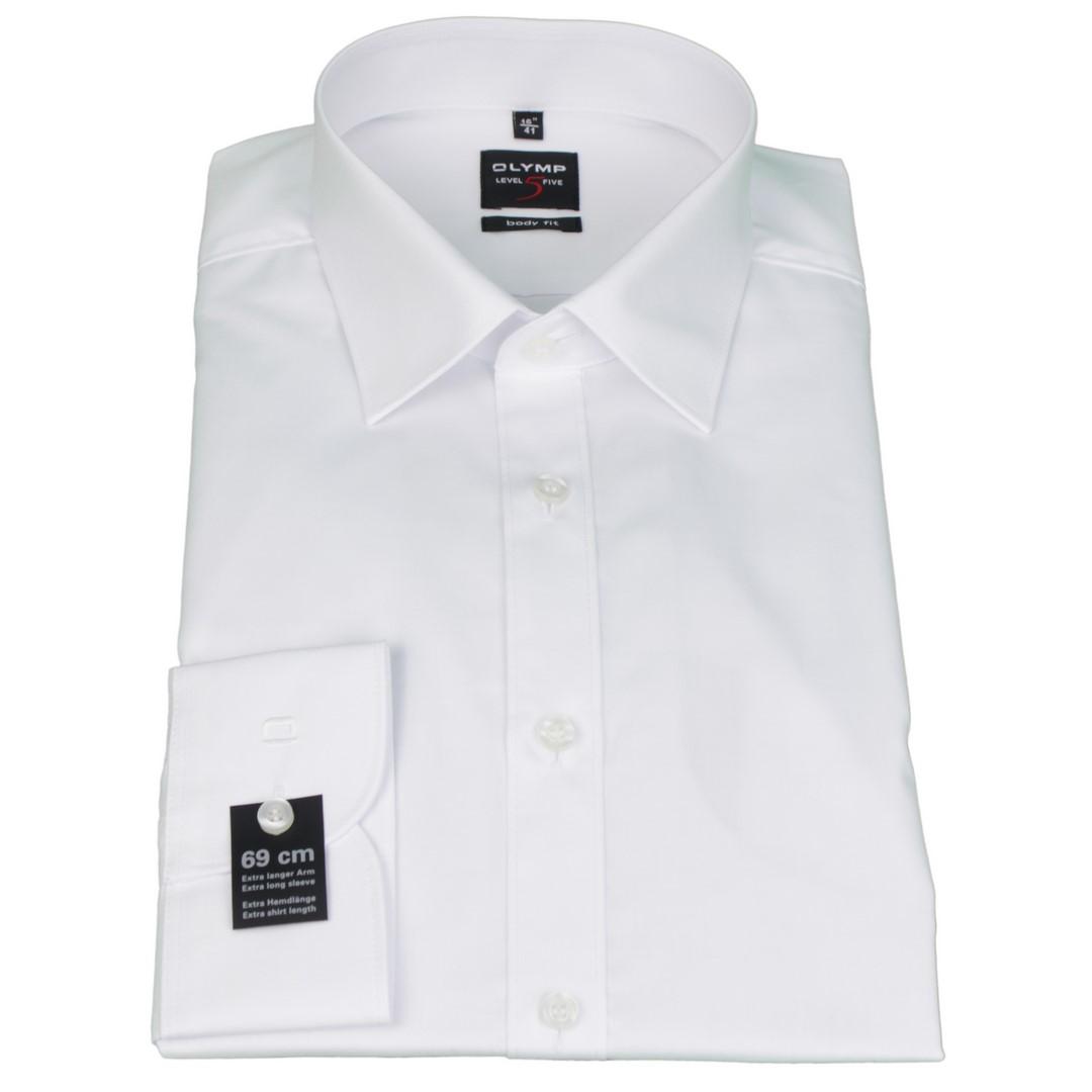 Olymp Herren Body Fit Hemd Level 5 weiß Unifarben 6090 69 00