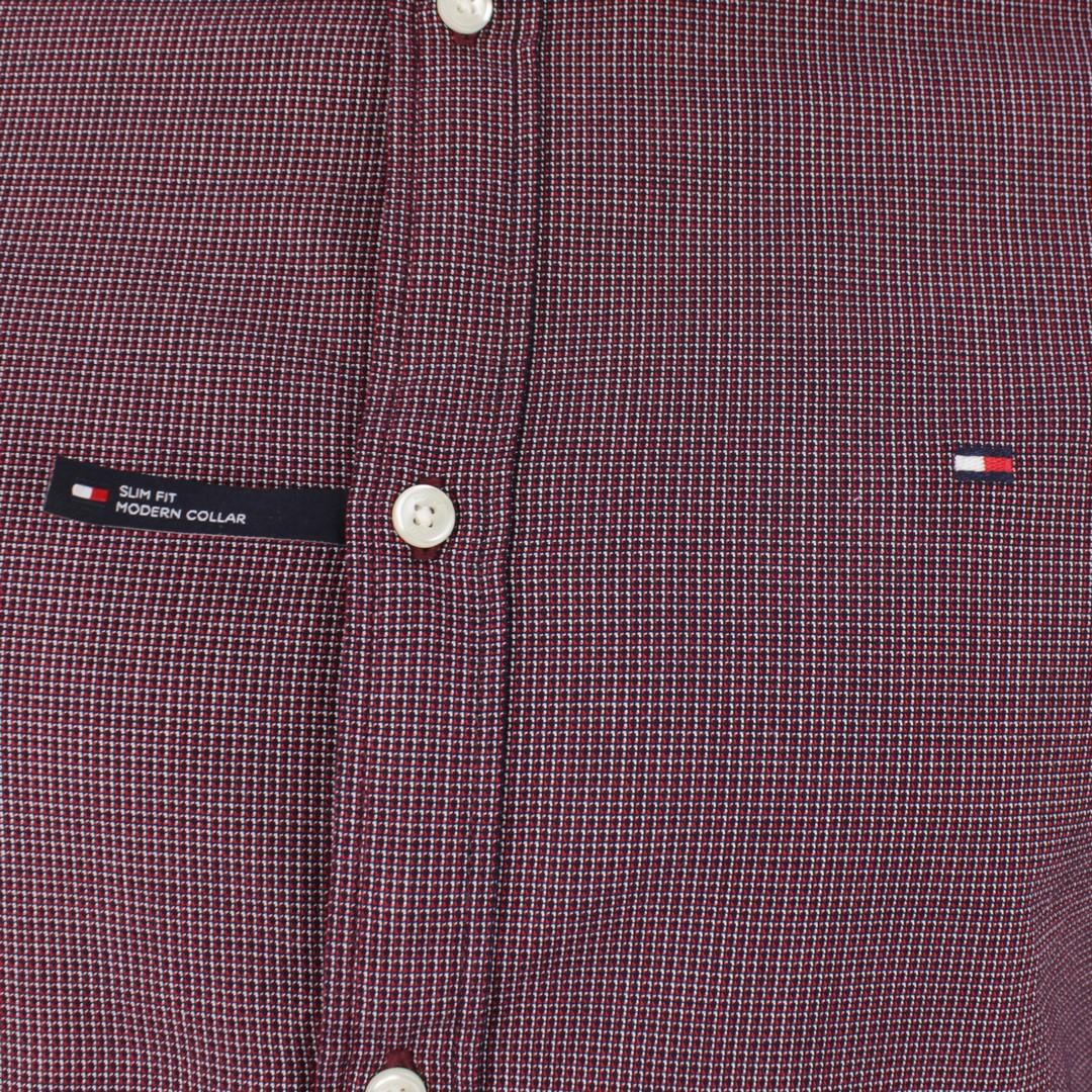 Tommy Hilfiger Herren Hemd Textured Multi Dobby rot Minimal Muster MW0MW15018 0KP