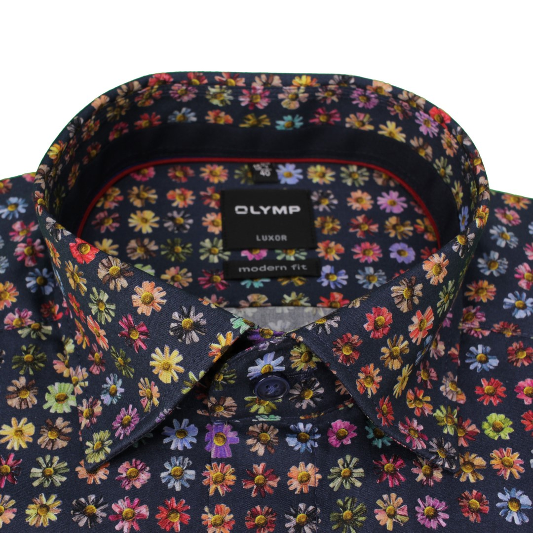 Olymp Herren Luxor Modern Fit Hemd mehrfarbig Blumen Muster 139674 18