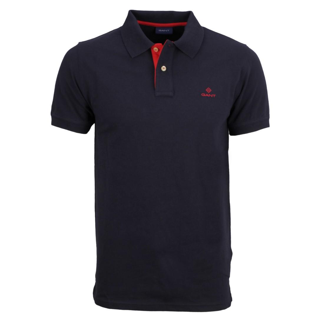 Gant Polo Shirt Contrast Collar Pique Rugger dunkel blau 2052003 433 Evening