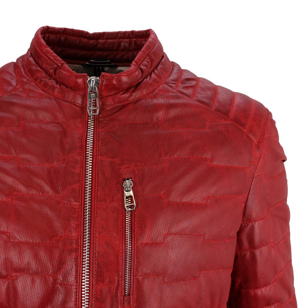 Milestone Herren Lederjacke Jacke rot gesteppt Anzio with Punch 111009 54 red