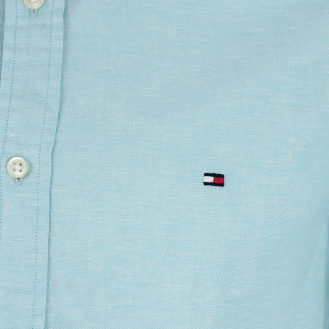 Tommy Hilfiger Herren Kurzarm Hemd Leinenmix blau unifarben MW0MW12777 CU1