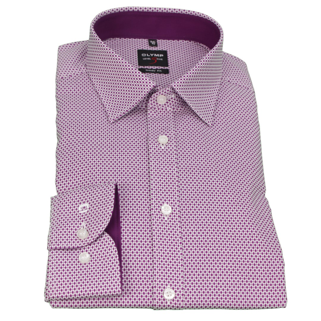 Olymp Herren Body Fit Hemd Level 5 lila weiß Minimal Muster 0470 64 95