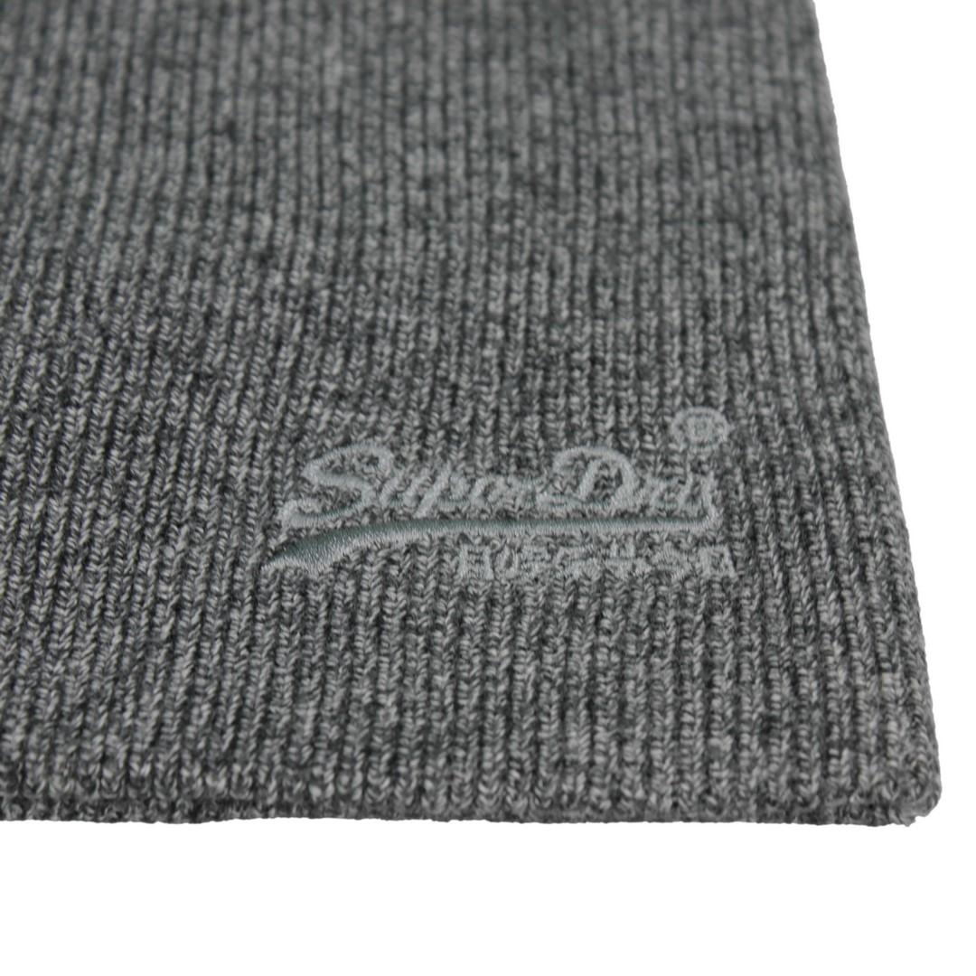 Superdry Strick Mütze Orange Label Beanie grau M9010035A 3WG Storm Cloud grey grit