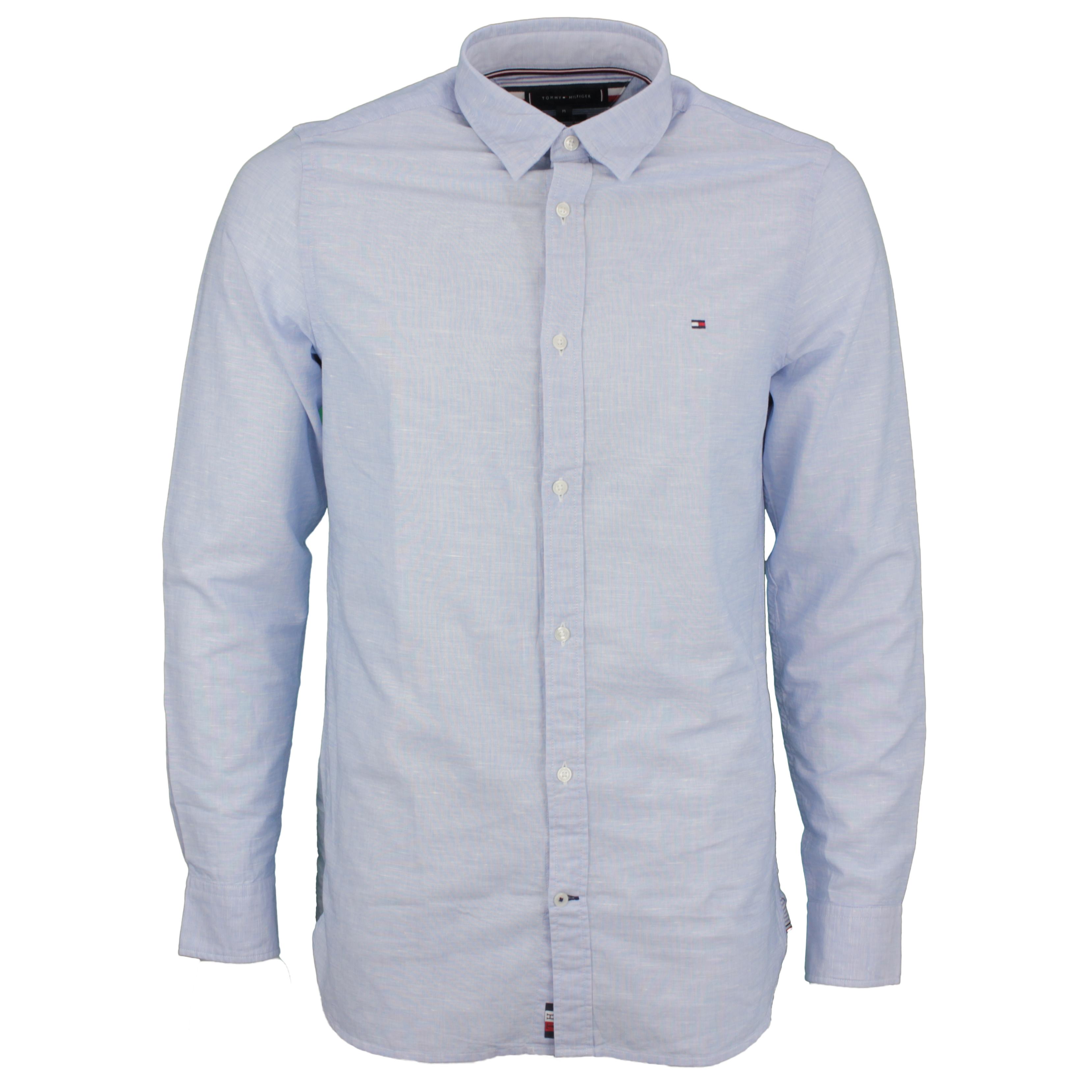 Tommy Hilfiger Leinen Hemd Li Fil a Fil Shirt blau MW0MW17642 C39