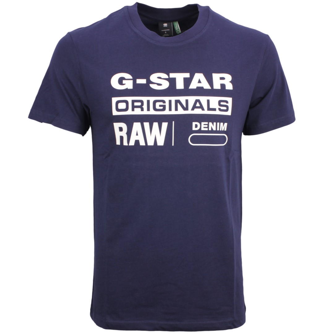 G-Star Raw Herren T-Shirt Graphic 8 blau unifarben D14143 336 6067