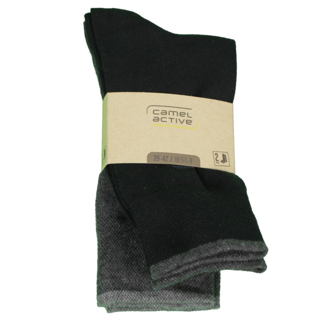 Camel active Socken Doppelpack schwarz anthrazit 6438 610