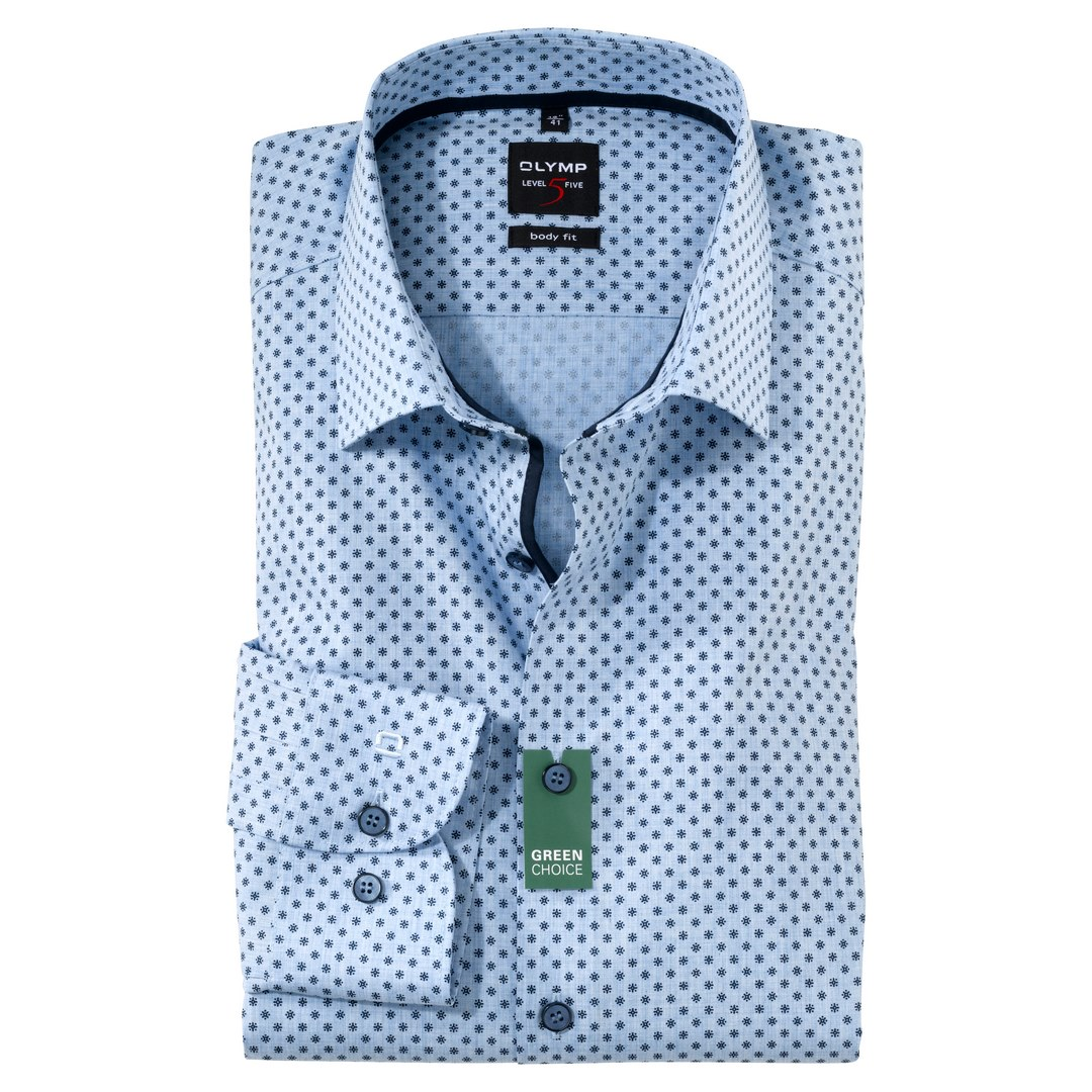 Olymp Level 5 Body Fit Business Hemd Extra langer Arm Langarmhemd Choice Green 213489 11 bleu