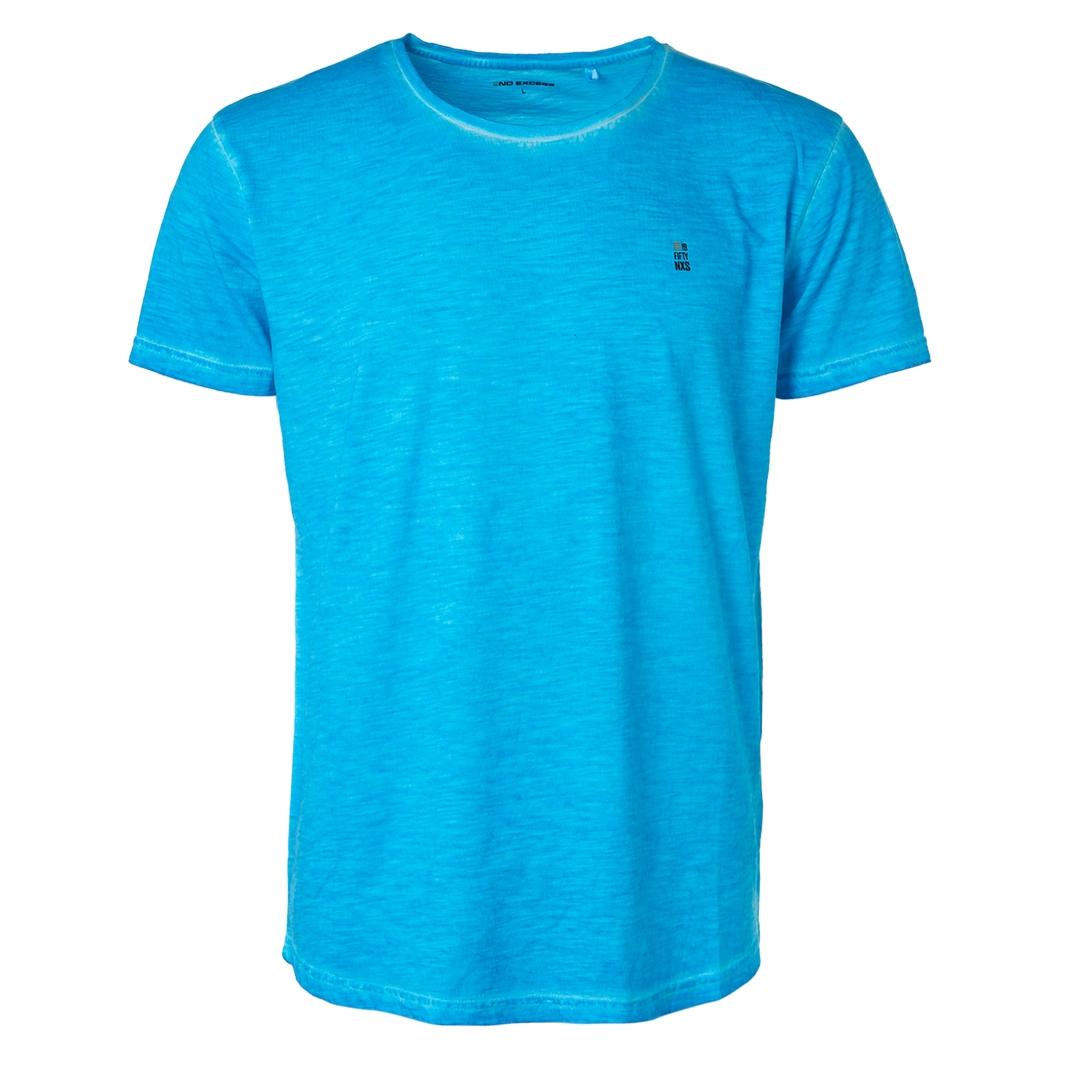 No Excess Herren T-Shirt Shirt kurzarm Aqua blau unifarben 96350519 036