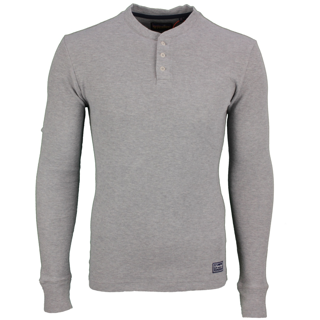 Superdry Herren langarm Shirt LS Waffle Grandad Top grau M6010396A 07Q grey