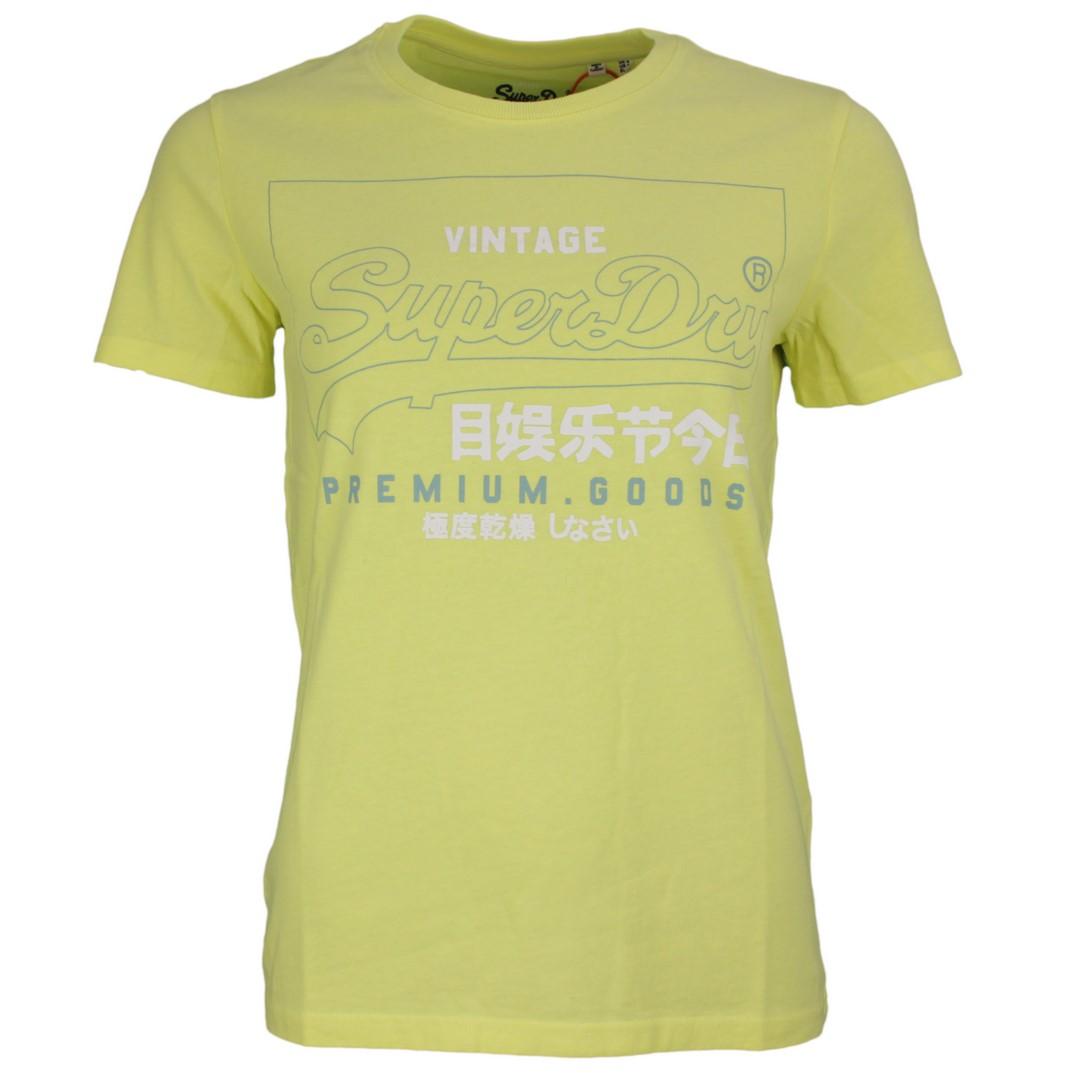 Superdry Damen T-Shirt Label Outline Tee grün unifarben W1010102A 5sy green