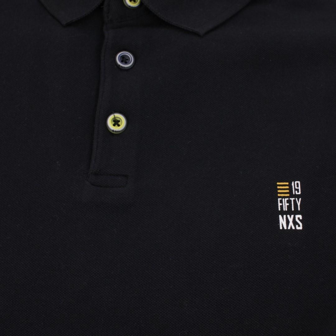 No Excess Herren Polo Shirt Pique schwarz unifarben 11390160S 020 Black