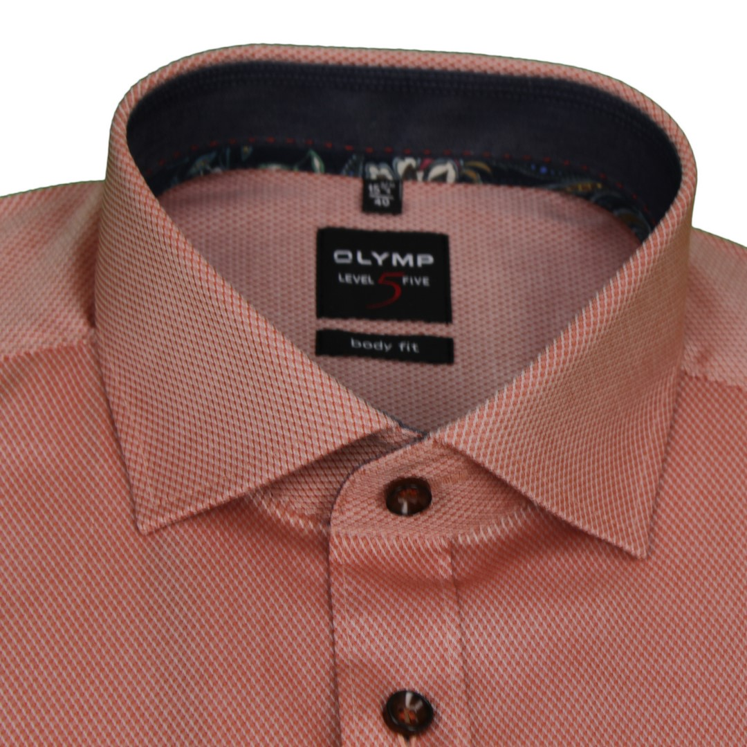 Olymp Herren Body Fit Hemd Level 5 orange strukturiert 202864 34