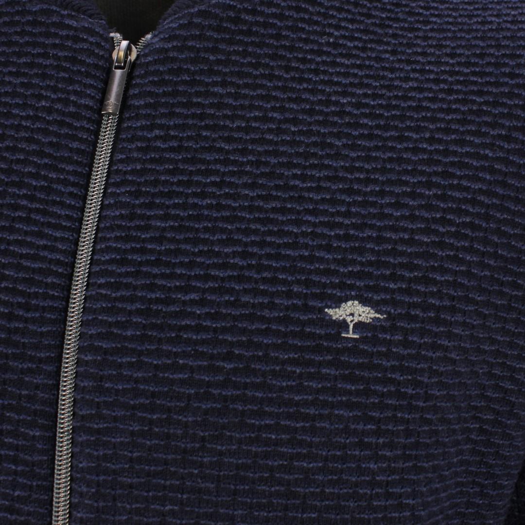 Fynch Hatton Herren Strick Strickjacke blau strukturiert 1220235 1618 navy night