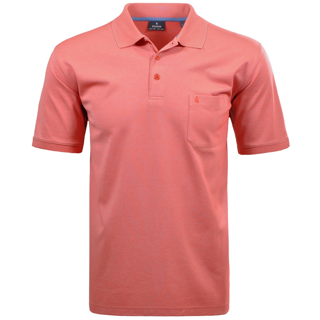 Ragman Herren Polo Shirt Poloshirt Softknit hellrot unifarben 540391 638