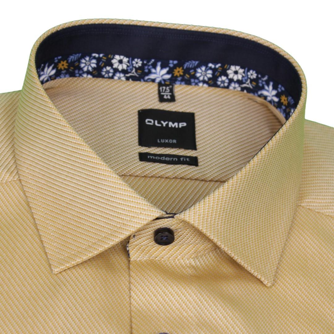 Olymp Modern Fit Hemd gelb unifarben strukturiert 1225 44 58