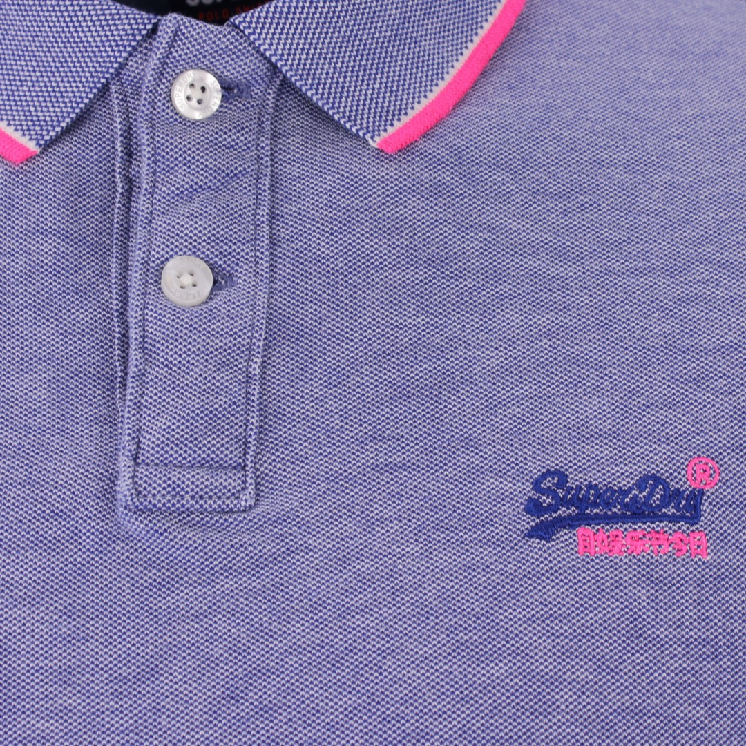 Superdry Herren Polo Shirt Pool Side Piqué blau M1110013A FDG cobalt