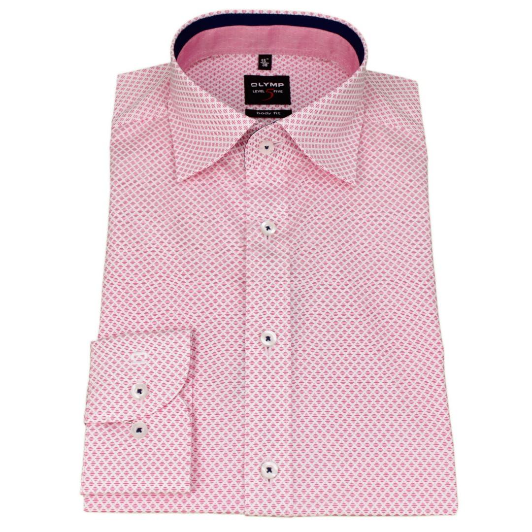 Olymp Herren Body Fit Hemd Level 5 rot weiß Minimal Muster 7847 64 81