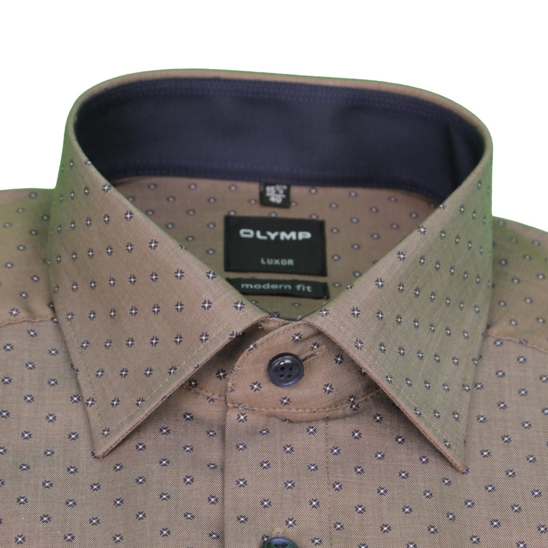 Olymp Modern Fit Hemd braun Minimal Muster 1219 44 28