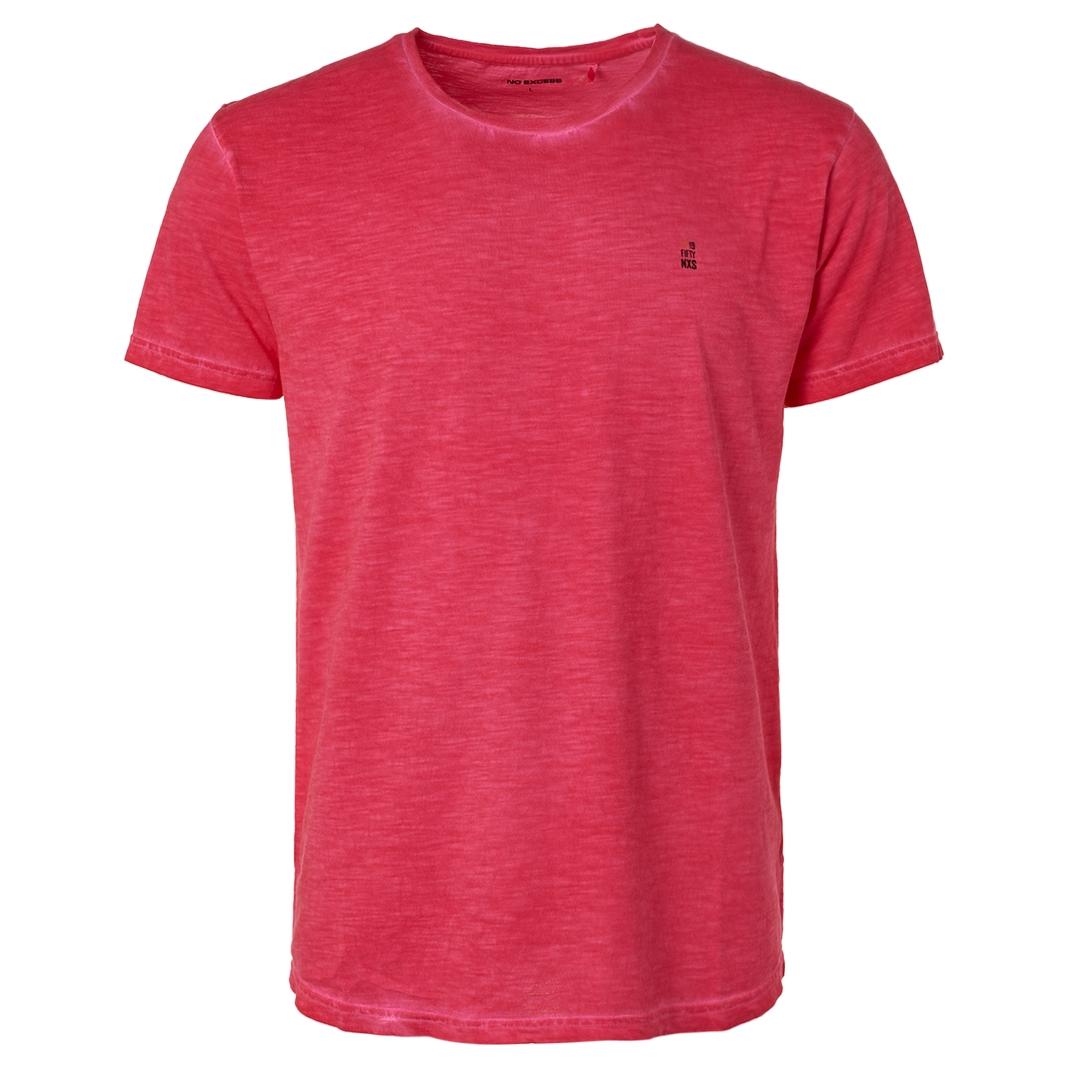 No Excess Herren T-Shirt Shirt kurzarm Fuchsia rot unifarben 96350519 066
