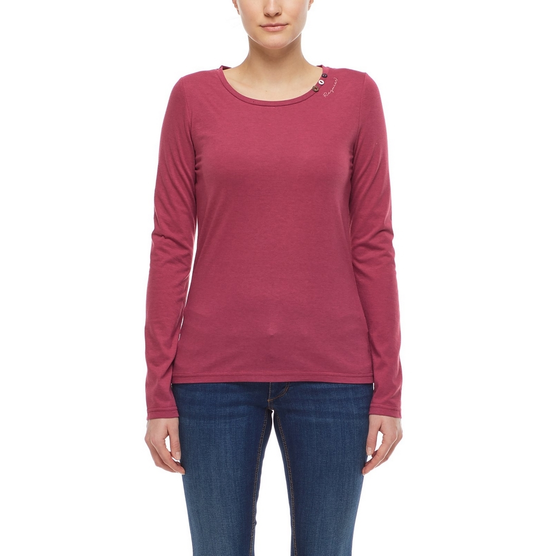 Ragwear Damen Langarmshirt dunkelrosa Florah Long A Organic 2121 25016 4051 Raspberry