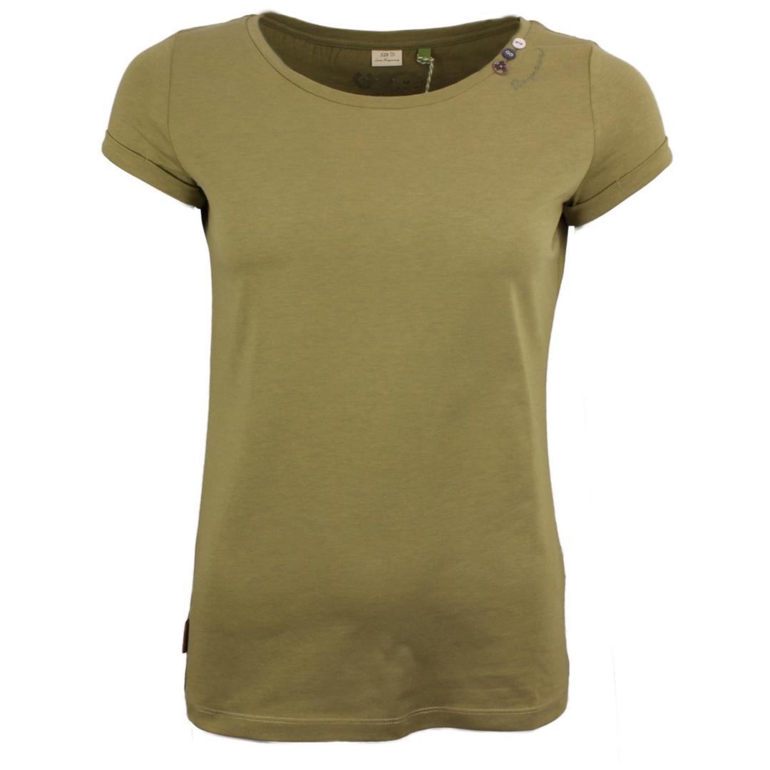 Ragwear Damen T-Shirt Florah a Organic grün unifarben 2111 10049 6044 Khaki