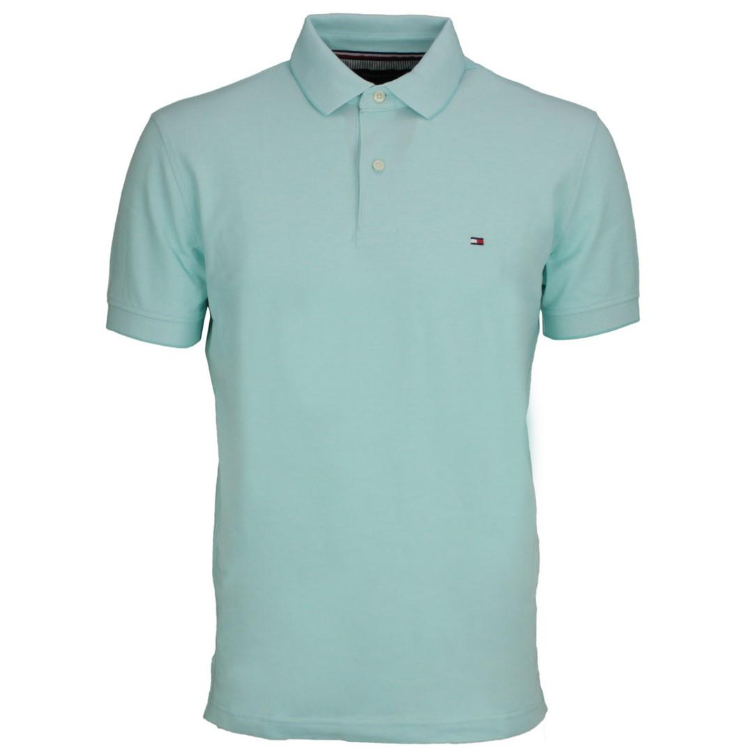 Tommy Hilfiger Oxford Regular Polo Shirt Türkis blau MW0MW17781 L62 Miami Aqua