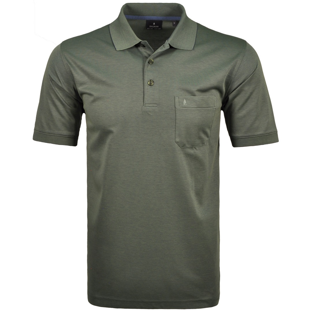 Ragman Herren Polo Shirt Poloshirt Softknit grün unifarben 540391 341 schilf